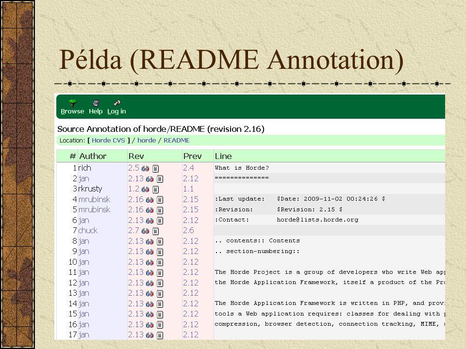 Subversion Támogatja: Atomi commit Fájl átnevezés Szimbolikus linkek Események pre/post kapcsolása Unicode fájlok támogatása Idegen repositoryk beágyazása Részleges checkout/clone