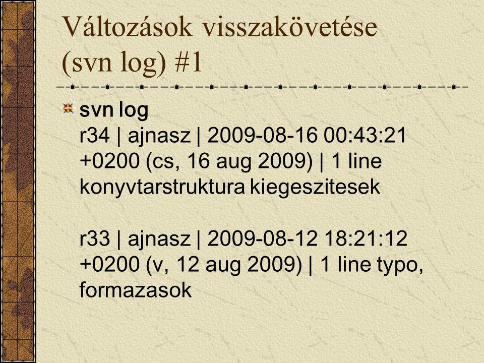 Változások visszakövetése (svn log) #1 svn log r34 | ajnasz | 2009-08-16 00:43:21 +0200 (cs, 16 aug 2009) | 1 line konyvtarstruktura kiegeszitesek r33