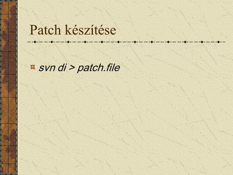 Patch készítése svn di > patch.file