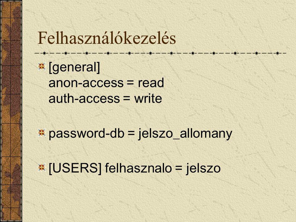 Felhasználókezelés [general] anon-access = read auth-access = write password-db = jelszo_allomany [USERS] felhasznalo = jelszo