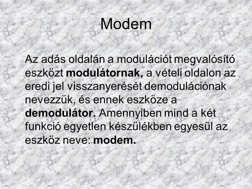 Modem Az adás oldalán a modulációt megvalósító eszközt modulátornak, a vételi oldalon az eredi jel visszanyerését demodulációnak nevezzük, és ennek es
