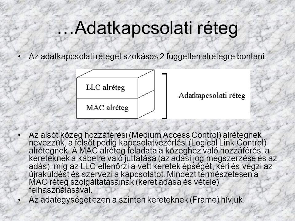 …Adatkapcsolati réteg Az adatkapcsolati réteget szokásos 2 független alrétegre bontani. Az alsót közeg hozzáférési (Medium Access Control) alrétegnek