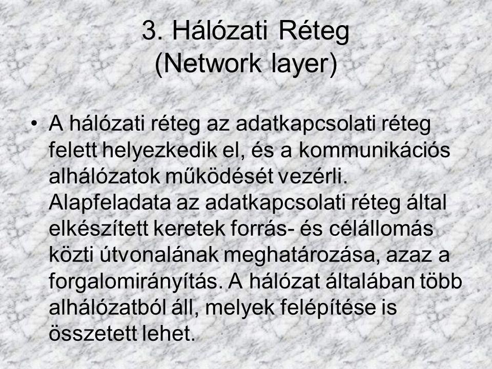 3. Hálózati Réteg (Network layer) A hálózati réteg az adatkapcsolati réteg felett helyezkedik el, és a kommunikációs alhálózatok működését vezérli. Al