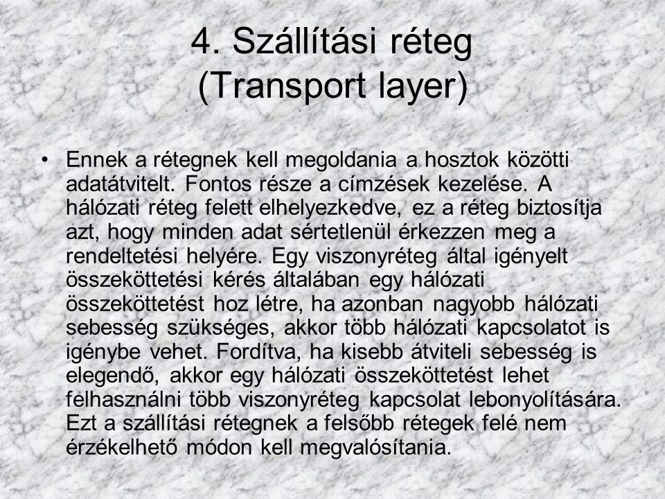 4. Szállítási réteg (Transport layer) Ennek a rétegnek kell megoldania a hosztok közötti adatátvitelt. Fontos része a címzések kezelése. A hálózati ré