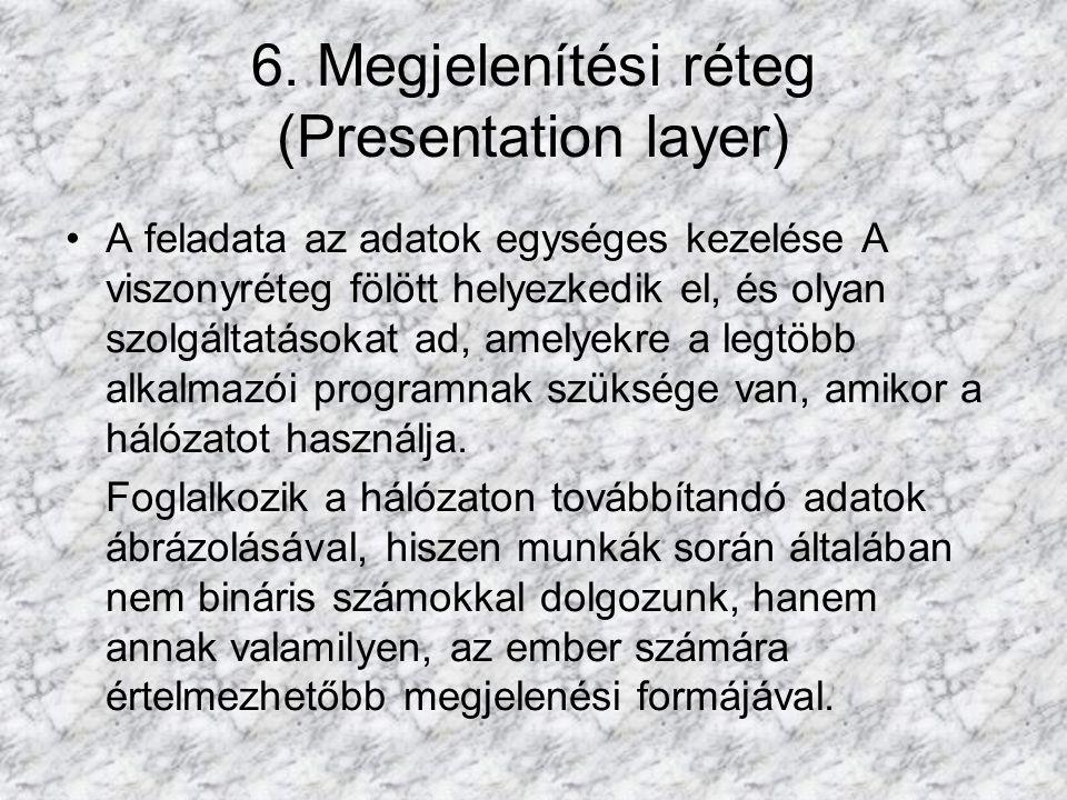 6. Megjelenítési réteg (Presentation layer) A feladata az adatok egységes kezelése A viszonyréteg fölött helyezkedik el, és olyan szolgáltatásokat ad,