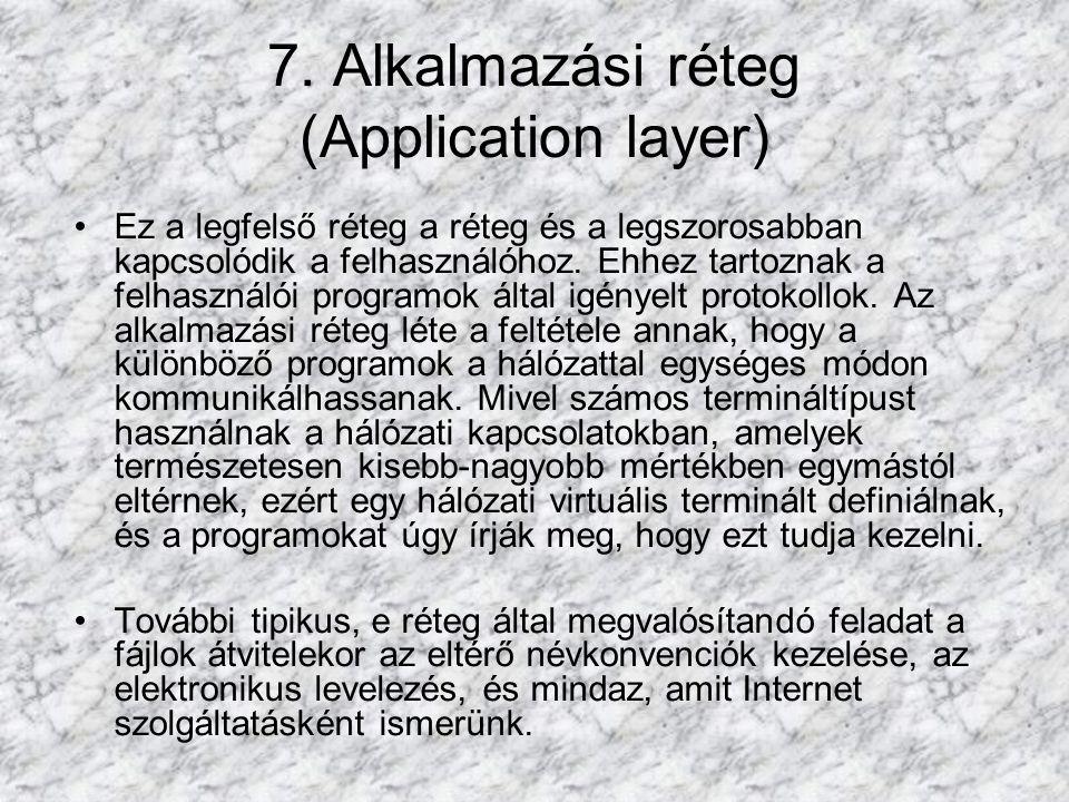 7. Alkalmazási réteg (Application layer) Ez a legfelső réteg a réteg és a legszorosabban kapcsolódik a felhasználóhoz. Ehhez tartoznak a felhasználói