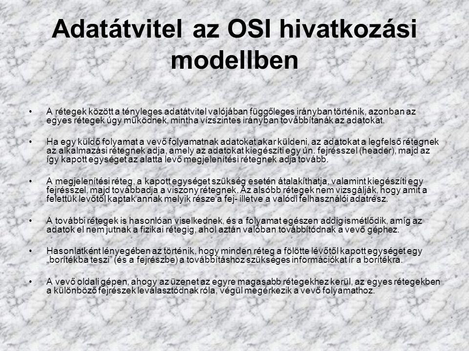 Adatátvitel az OSI hivatkozási modellben A rétegek között a tényleges adatátvitel valójában függőleges irányban történik, azonban az egyes rétegek úgy