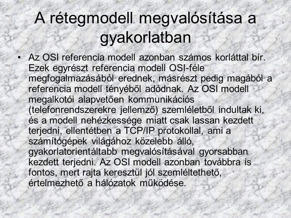 A rétegmodell megvalósítása a gyakorlatban Az OSI referencia modell azonban számos korláttal bír. Ezek egyrészt referencia modell OSI-féle megfogalmaz