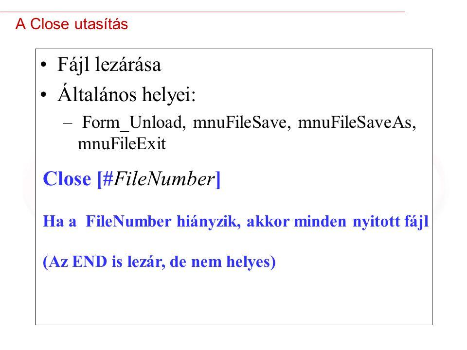 13 A Close utasítás Fájl lezárása Általános helyei: – Form_Unload, mnuFileSave, mnuFileSaveAs, mnuFileExit Close [#FileNumber] Ha a FileNumber hiányzik, akkor minden nyitott fájl (Az END is lezár, de nem helyes)