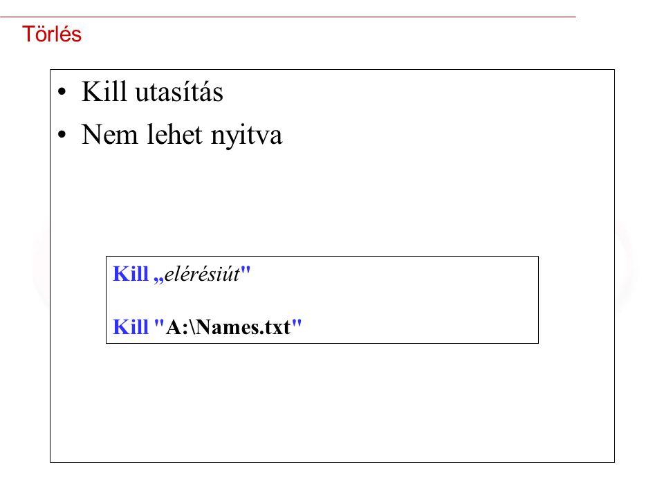 """23 Törlés Kill utasítás Nem lehet nyitva Kill """"elérésiút Kill A:\Names.txt"""