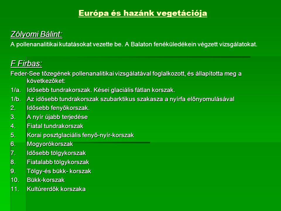 Európa és hazánk vegetációja Zólyomi Bálint: A pollenanalitikai kutatásokat vezette be.