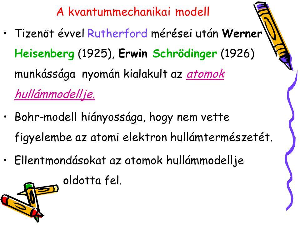A kvantummechanikai modell Tizenöt évvel Rutherford mérései után Werner Heisenberg (1925), Erwin Schrödinger (1926) munkássága nyomán kialakult az ato