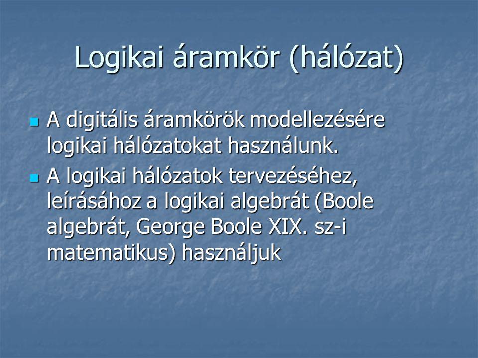 Logikai áramkör (hálózat) A digitális áramkörök modellezésére logikai hálózatokat használunk. A digitális áramkörök modellezésére logikai hálózatokat