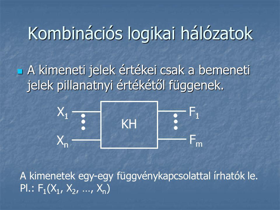 Kombinációs logikai hálózatok A kimeneti jelek értékei csak a bemeneti jelek pillanatnyi értékétől függenek. A kimeneti jelek értékei csak a bemeneti