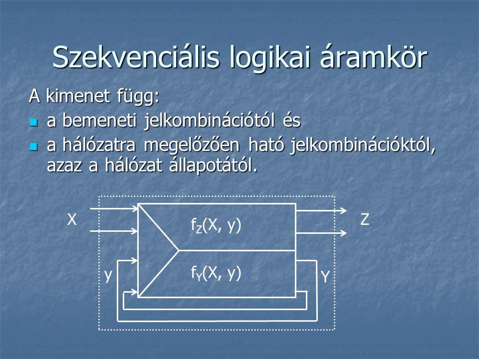 Szekvenciális logikai áramkör A kimenet függ: a bemeneti jelkombinációtól és a bemeneti jelkombinációtól és a hálózatra megelőzően ható jelkombinációk