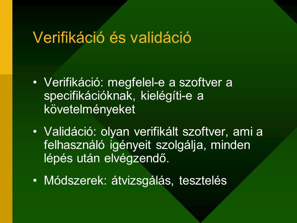 Verifikáció és validáció Verifikáció: megfelel-e a szoftver a specifikációknak, kielégíti-e a követelményeket Validáció: olyan verifikált szoftver, am