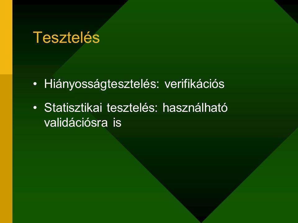 Tesztelés Hiányosságtesztelés: verifikációs Statisztikai tesztelés: használható validációsra is