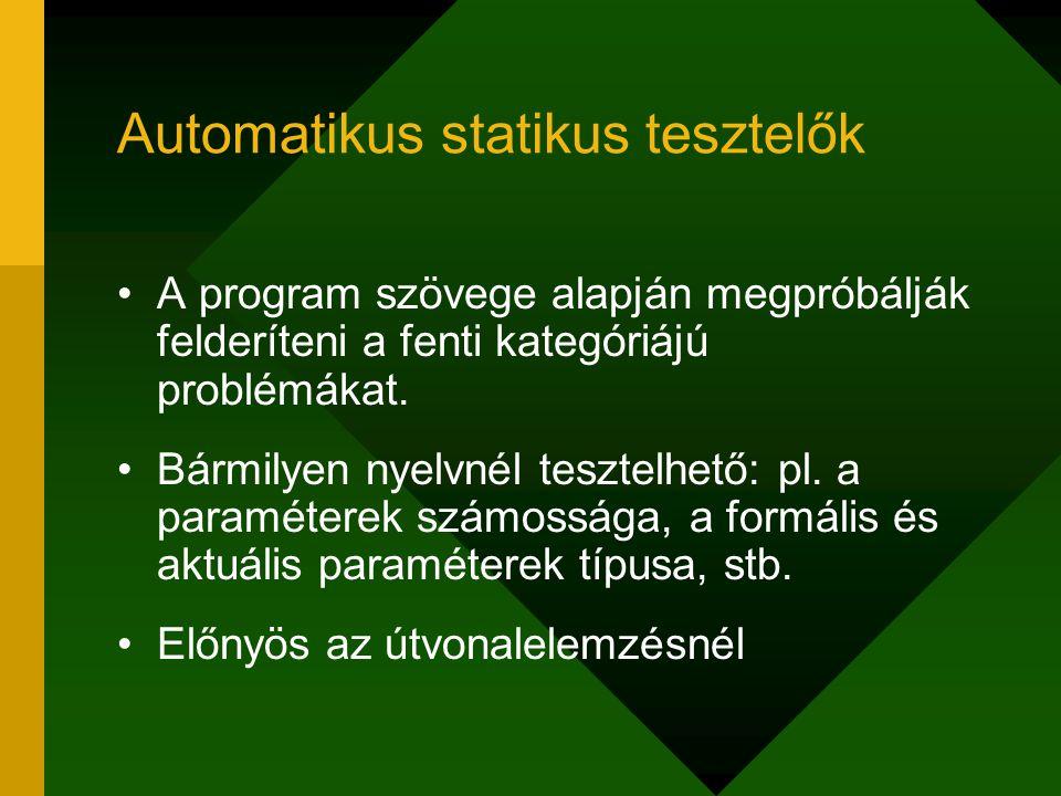 Automatikus statikus tesztelők A program szövege alapján megpróbálják felderíteni a fenti kategóriájú problémákat. Bármilyen nyelvnél tesztelhető: pl.