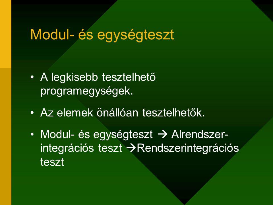 Modul- és egységteszt A legkisebb tesztelhető programegységek. Az elemek önállóan tesztelhetők. Modul- és egységteszt  Alrendszer- integrációs teszt