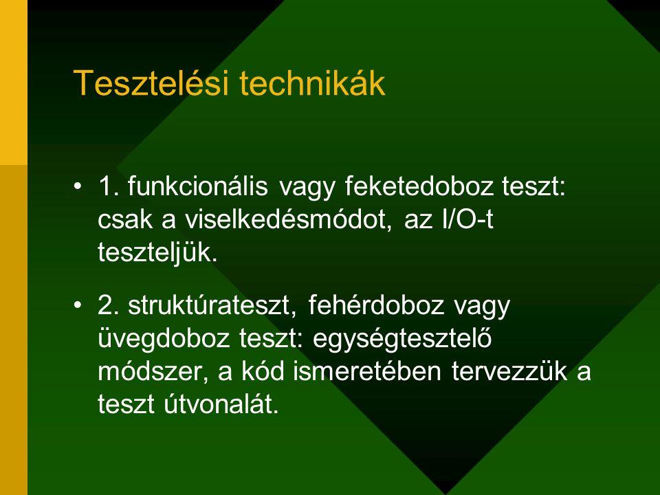 Tesztelési technikák 1. funkcionális vagy feketedoboz teszt: csak a viselkedésmódot, az I/O-t teszteljük. 2. struktúrateszt, fehérdoboz vagy üvegdoboz