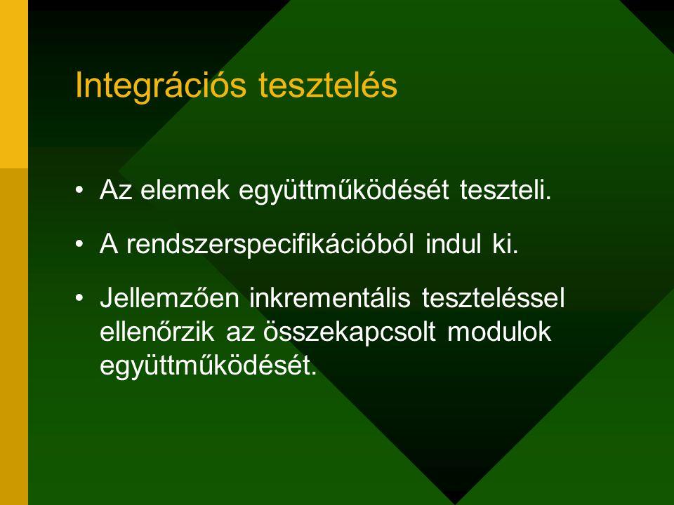 Integrációs tesztelés Az elemek együttműködését teszteli. A rendszerspecifikációból indul ki. Jellemzően inkrementális teszteléssel ellenőrzik az össz