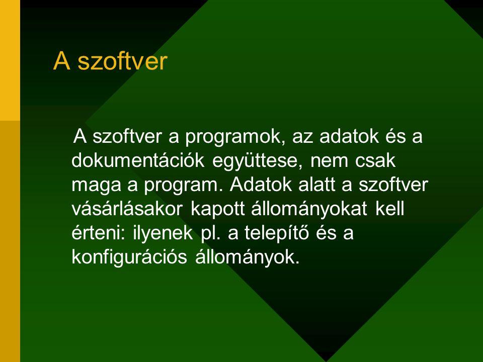 A szoftver A szoftver a programok, az adatok és a dokumentációk együttese, nem csak maga a program. Adatok alatt a szoftver vásárlásakor kapott állomá