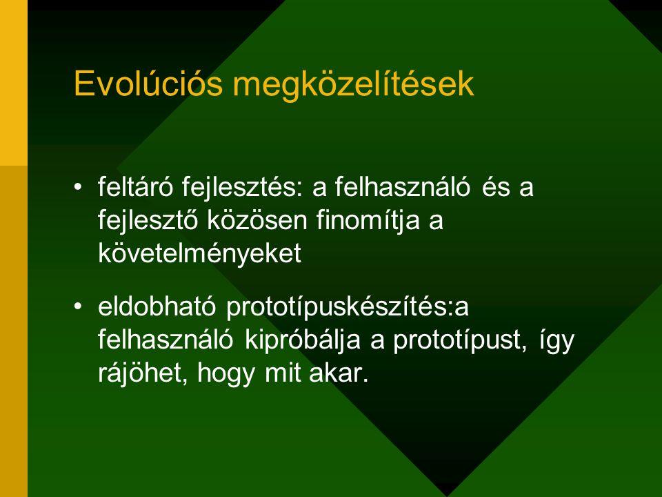 Evolúciós megközelítések feltáró fejlesztés: a felhasználó és a fejlesztő közösen finomítja a követelményeket eldobható prototípuskészítés:a felhaszná