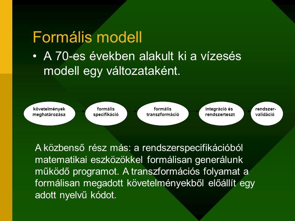 Formális modell A 70-es években alakult ki a vízesés modell egy változataként. követelmények meghatározása formális specifikáció formális transzformác