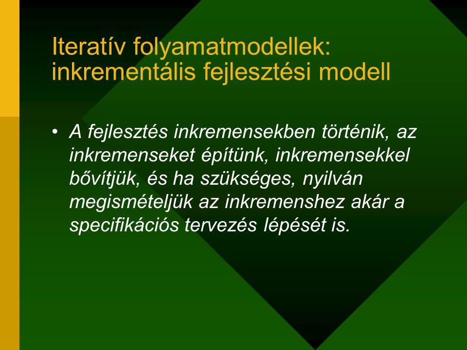 Iteratív folyamatmodellek: inkrementális fejlesztési modell A fejlesztés inkremensekben történik, az inkremenseket építünk, inkremensekkel bővítjük, é