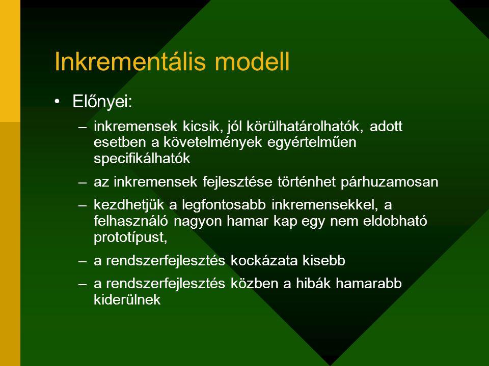 Inkrementális modell Előnyei: –inkremensek kicsik, jól körülhatárolhatók, adott esetben a követelmények egyértelműen specifikálhatók –az inkremensek f