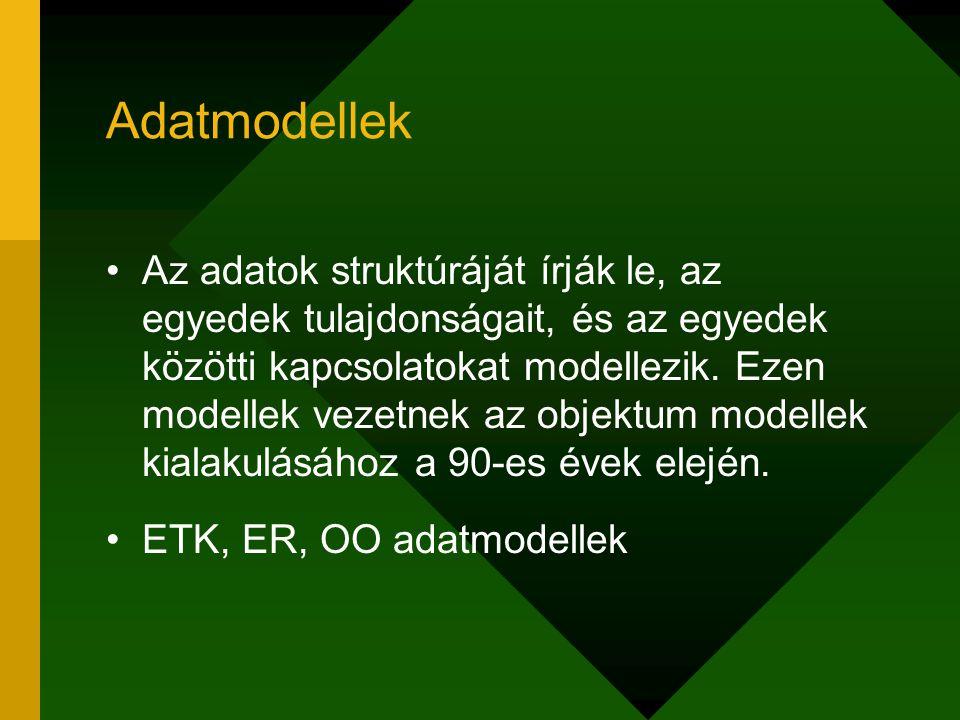 Adatmodellek Az adatok struktúráját írják le, az egyedek tulajdonságait, és az egyedek közötti kapcsolatokat modellezik. Ezen modellek vezetnek az obj