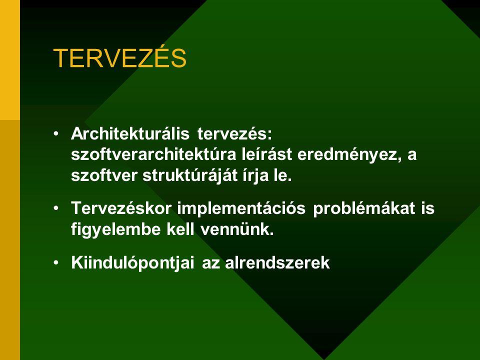 TERVEZÉS Architekturális tervezés: szoftverarchitektúra leírást eredményez, a szoftver struktúráját írja le. Tervezéskor implementációs problémákat is