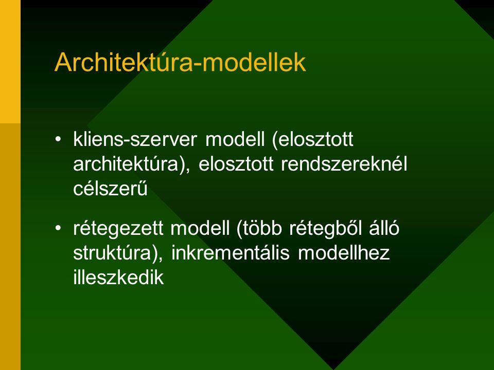 Architektúra-modellek kliens-szerver modell (elosztott architektúra), elosztott rendszereknél célszerű rétegezett modell (több rétegből álló struktúra