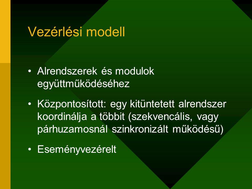 Vezérlési modell Alrendszerek és modulok együttműködéséhez Központosított: egy kitüntetett alrendszer koordinálja a többit (szekvencális, vagy párhuza