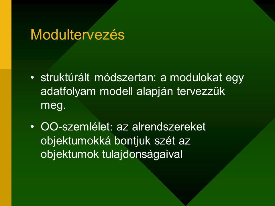 Modultervezés struktúrált módszertan: a modulokat egy adatfolyam modell alapján tervezzük meg. OO-szemlélet : az alrendszereket objektumokká bontjuk s