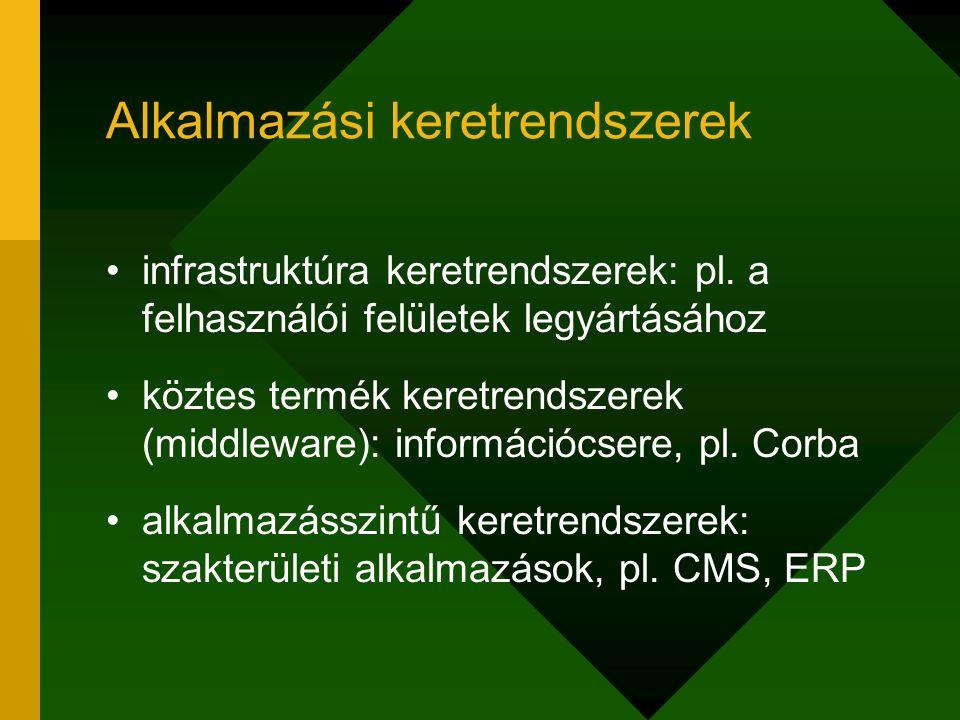 Alkalmazási keretrendszerek infrastruktúra keretrendszerek: pl. a felhasználói felületek legyártásához köztes termék keretrendszerek (middleware): inf