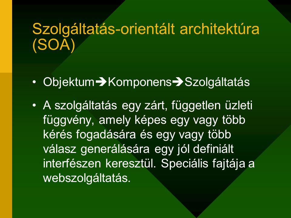 Szolgáltatás-orientált architektúra (SOA) Objektum  Komponens  Szolgáltatás A szolgáltatás egy zárt, független üzleti függvény, amely képes egy vagy