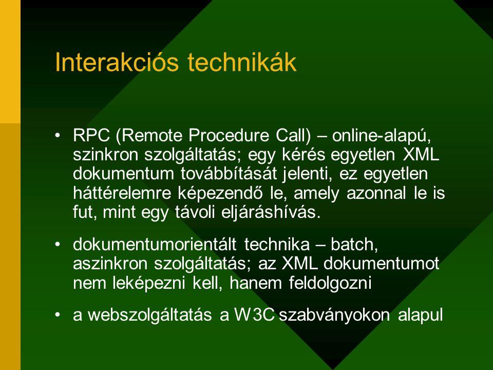 Interakciós technikák RPC (Remote Procedure Call) – online-alapú, szinkron szolgáltatás; egy kérés egyetlen XML dokumentum továbbítását jelenti, ez eg