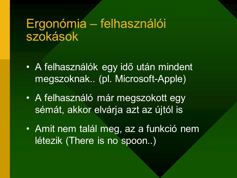 Ergonómia – felhasználói szokások A felhasználók egy idő után mindent megszoknak.. (pl. Microsoft-Apple) A felhasználó már megszokott egy sémát, akkor
