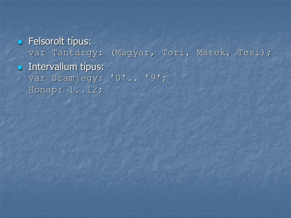 Egyszerű típusok csoportosítása Sorszámozott típusok Sorszámozott típusok egész típusok (byte, shortint, word, integer, longint) egész típusok (byte, shortint, word, integer, longint) karakteres típus (char) karakteres típus (char) logikai típus (boolean) logikai típus (boolean) felsorolt típus felsorolt típus intervallum típus intervallum típus Nem sorszámozott típusok: Nem sorszámozott típusok: valós típusok (real) valós típusok (real)