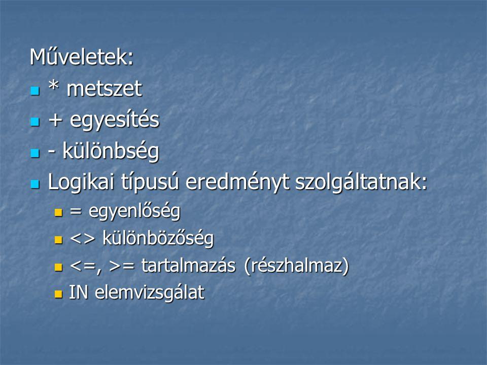 Deklarálása: SET OF alaptípus ahol az alaptípus csak olyan sorszámozott típus lehet, amelynek maximálisan 256 eleme van Deklarálása: SET OF alaptípus ahol az alaptípus csak olyan sorszámozott típus lehet, amelynek maximálisan 256 eleme van Halmaz típusú konstans: const Betuk = [ A .. Z , a .. z ]; Halmaz típusú konstans: const Betuk = [ A .. Z , a .. z ]; H1 := [1, 4, 6, 8..12] H1 := [1, 4, 6, 8..12] H2 := [] {üres halmaz} H2 := [] {üres halmaz}