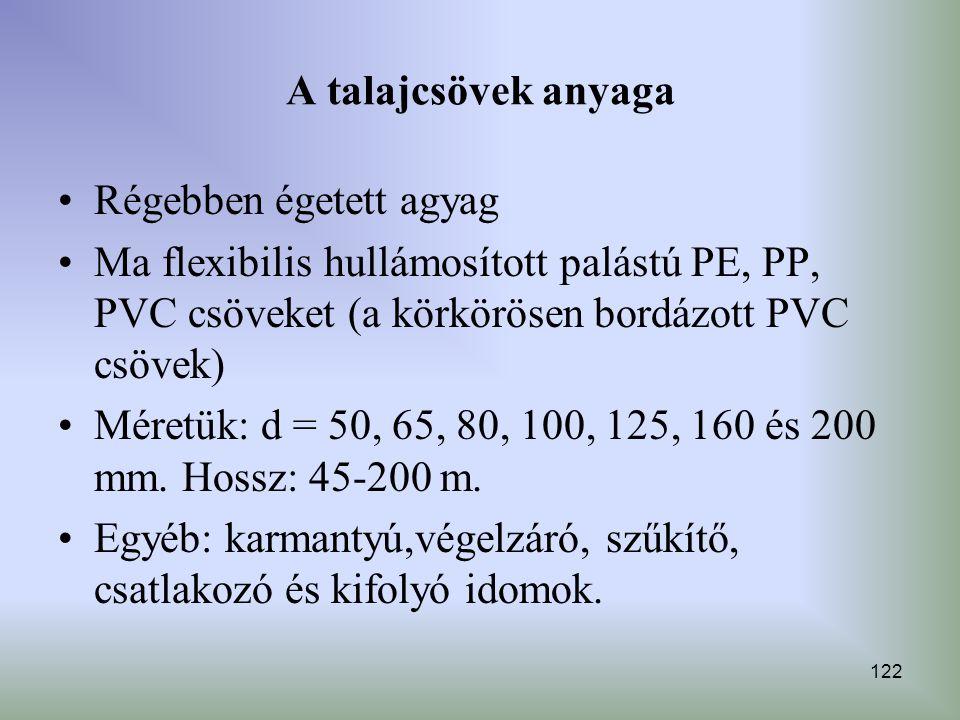 122 A talajcsövek anyaga Régebben égetett agyag Ma flexibilis hullámosított palástú PE, PP, PVC csöveket (a körkörösen bordázott PVC csövek) Méretük: