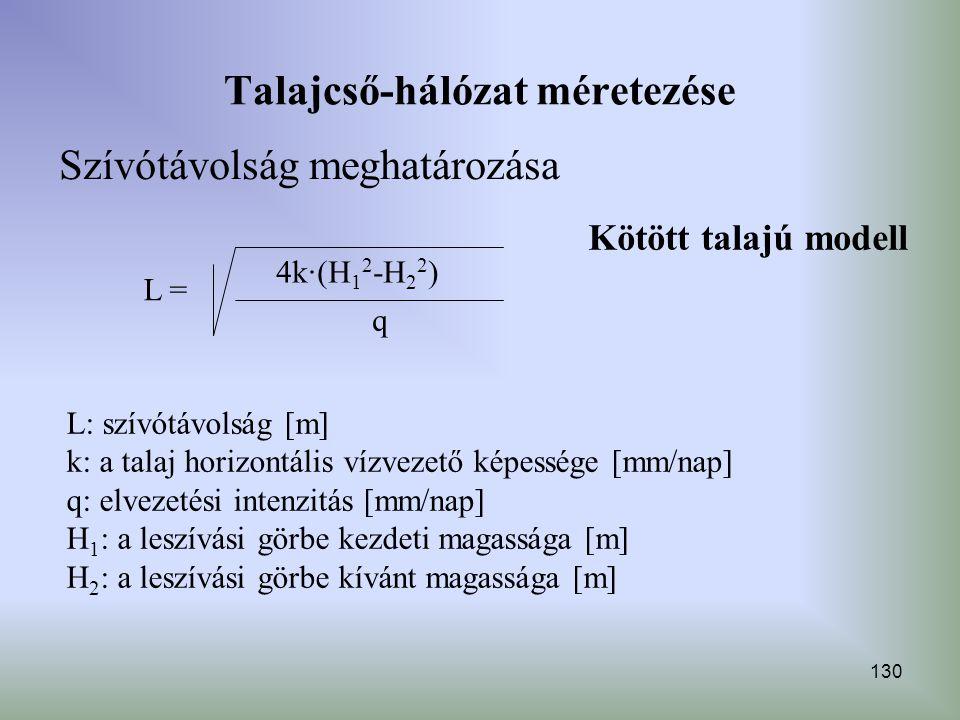 130 Talajcső-hálózat méretezése Szívótávolság meghatározása Kötött talajú modell L = 4k∙(H 1 2 -H 2 2 ) q L: szívótávolság [m] k: a talaj horizontális
