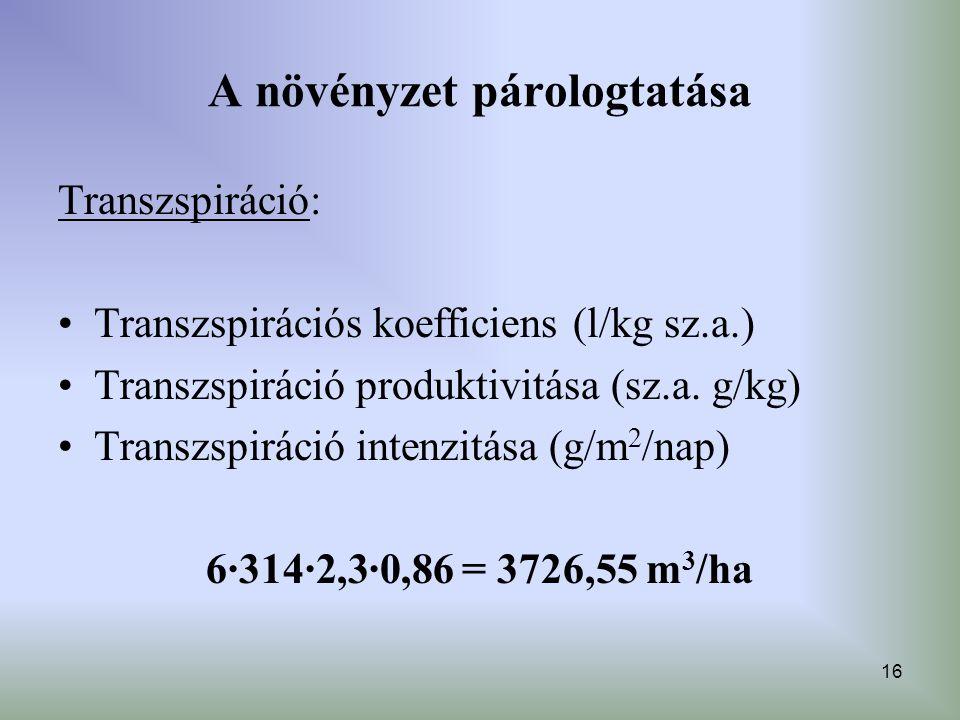 16 A növényzet párologtatása Transzspiráció: Transzspirációs koefficiens (l/kg sz.a.) Transzspiráció produktivitása (sz.a. g/kg) Transzspiráció intenz