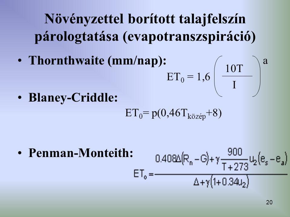 20 Növényzettel borított talajfelszín párologtatása (evapotranszspiráció) Thornthwaite (mm/nap): Blaney-Criddle: Penman-Monteith: ET 0 = 1,6 I a 10T E