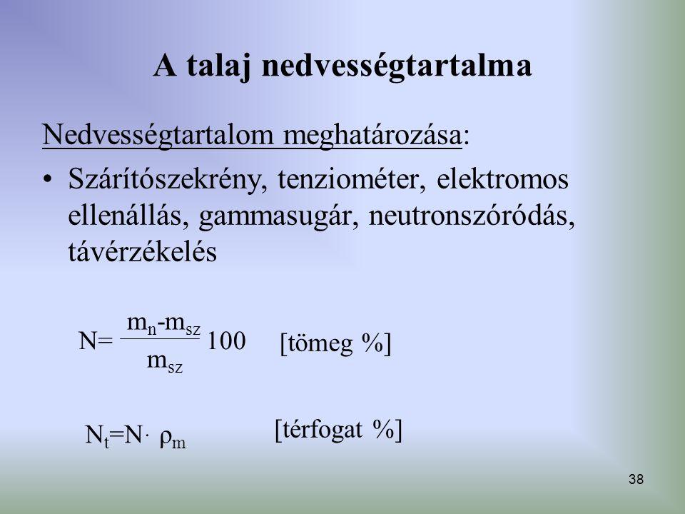 38 A talaj nedvességtartalma Nedvességtartalom meghatározása: Szárítószekrény, tenziométer, elektromos ellenállás, gammasugár, neutronszóródás, távérz