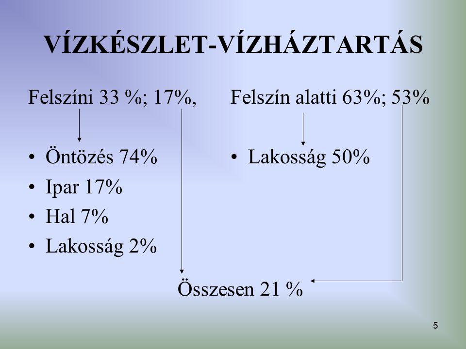 5 VÍZKÉSZLET-VÍZHÁZTARTÁS Felszíni 33 %; 17%, Öntözés 74% Ipar 17% Hal 7% Lakosság 2% Felszín alatti 63%; 53% Lakosság 50% Összesen 21 %