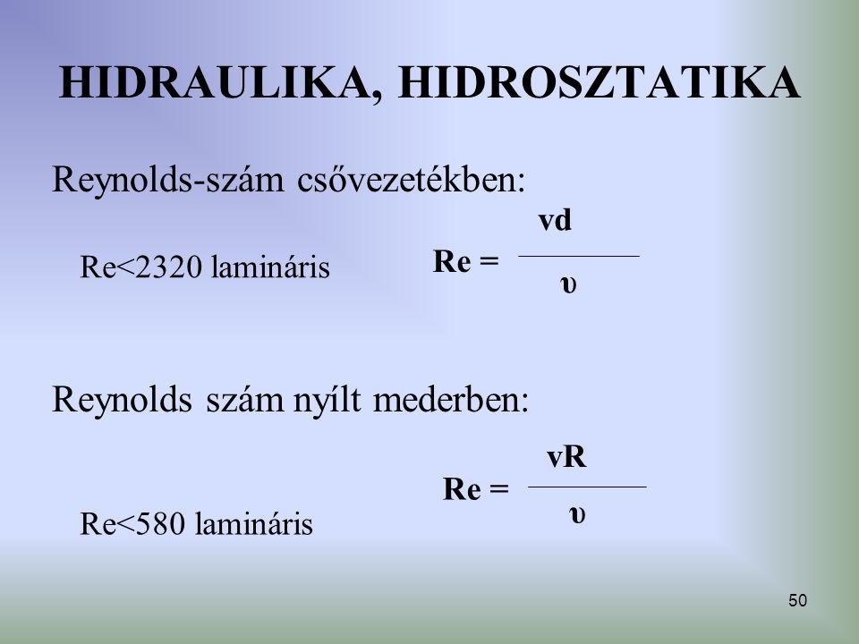 50 HIDRAULIKA, HIDROSZTATIKA Reynolds-szám csővezetékben: Reynolds szám nyílt mederben: vd υ Re = vR υ Re = Re<2320 lamináris Re<580 lamináris