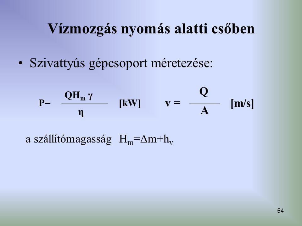 54 Vízmozgás nyomás alatti csőben Szivattyús gépcsoport méretezése: P= η QH m γ [kW] v = A Q [m/s] a szállítómagasság H m =Δm+h v