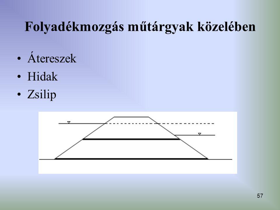 57 Folyadékmozgás műtárgyak közelében Átereszek Hidak Zsilip